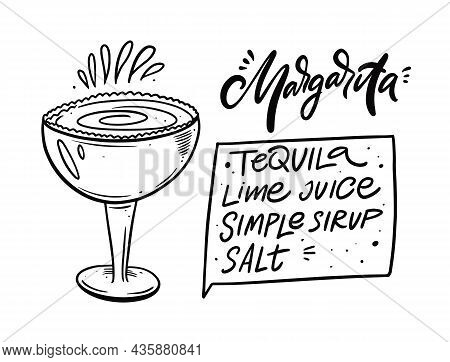 Margarita Cocktail Recipe. Hand Drawn Black Color Outline Style.