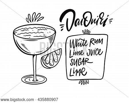Daiquiri Cocktail Recipe. Hand Drawn Black Color Outline Style.