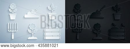 Set Flower, Flowers In Pot, Garden Rake Work, Wooden Box For Fruits And Vegetables, Trowel Spade Sho