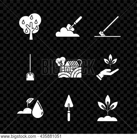 Set Tree With Pears, Garden Trowel Spade Or Shovel In The Ground, Rake Work, Watering Sprout, Plant,