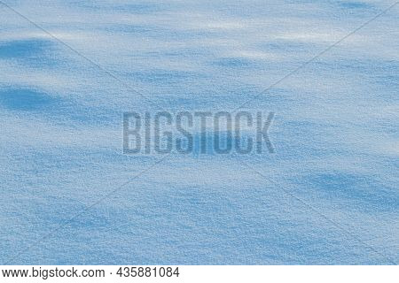 Snowy Background, Snowy Surface With A Clearly Expressed Texture Of Snow In The Morning Sun