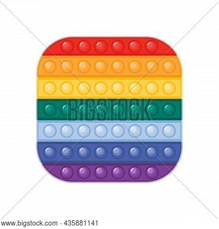 Trendy Antistress Pop It Fidget Toy In Rainbow Colors Flat Vector Illustration. Square Shaped Sensor