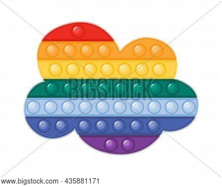 Trendy Antistress Pop It Fidget Toy In Rainbow Colors Flat Vector Illustration. Cloud Shaped Sensory