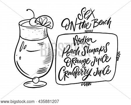 Sex On The Beach Cocktail. Hand Drawn Black Color Outline Style.