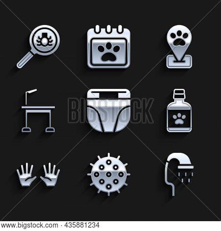 Set Diaper For Dog, Tennis Ball, Pet Shower, Dog Medicine Bottle, Medical Rubber Gloves, Grooming Ta