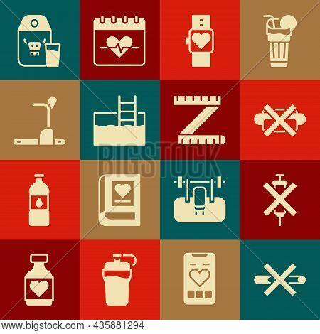 Set No Smoking, Doping Syringe, Junk Food, Smart Watch, Swimming Pool With Ladder, Treadmill Machine