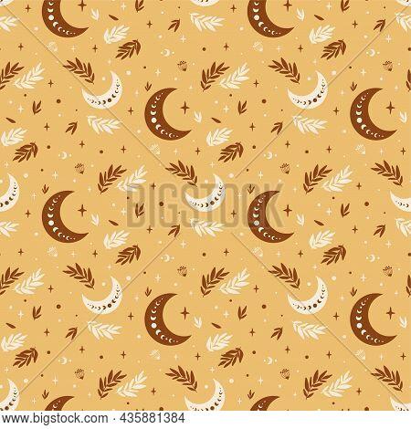 Boho Moon Pattern. Boho Celestial Seamless Pattern. Floral Moon Textile Background. Astrology Celest