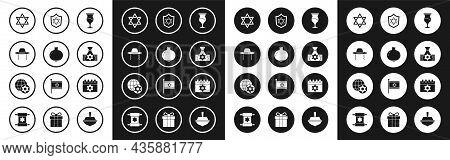 Set Jewish Goblet, Pomegranate, Orthodox Jewish Hat, Star Of David, Money Bag, Shield With, Calendar