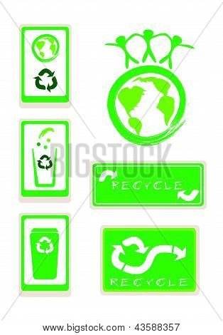Set Of Recycle Sign For Save The World