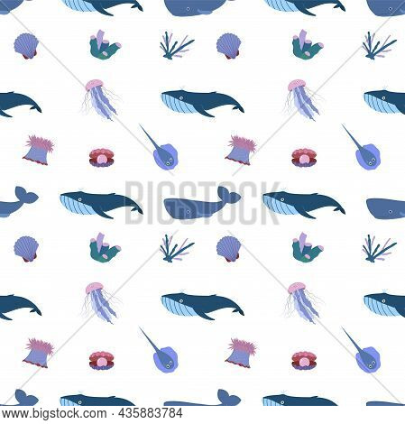 Sea Animal Seamless Pattern With Whale, Jellyfish And Stringray, Seashell, Coral. Undersea World Hab
