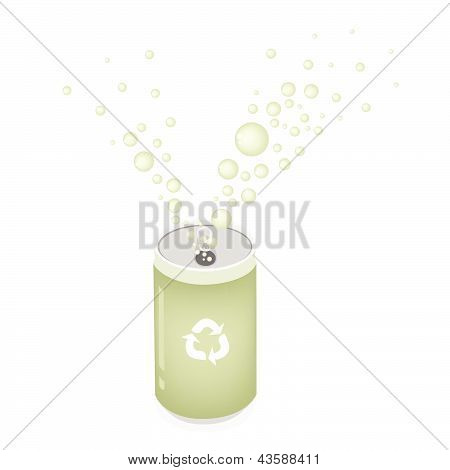 Soda Can With Recycle Symbol For Save The Green World
