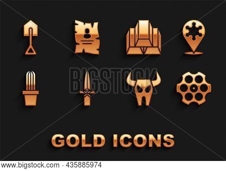 Set Dagger, Hexagram Sheriff, Revolver Cylinder, Buffalo Skull, Cactus Peyote Pot, Gold Bars, Shovel
