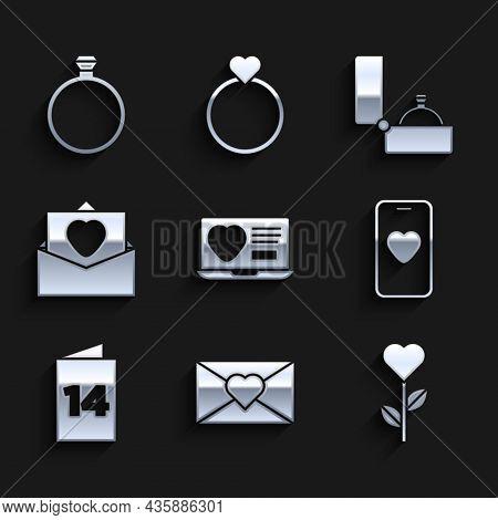 Set Dating App Online, Envelope With Valentine Heart, Heart Shape Flower, Online Dating And Chat, Gr