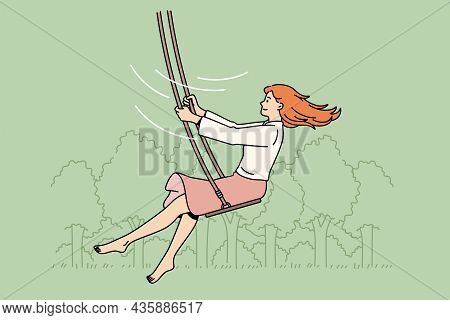 Summer Leisure And Activities Concept. Young Smiling Woman Cartoon Character Enjoying Ride On Swings