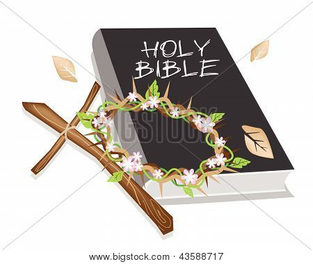 Holy Bible With Wooden Cross And A Crown Of Thorn