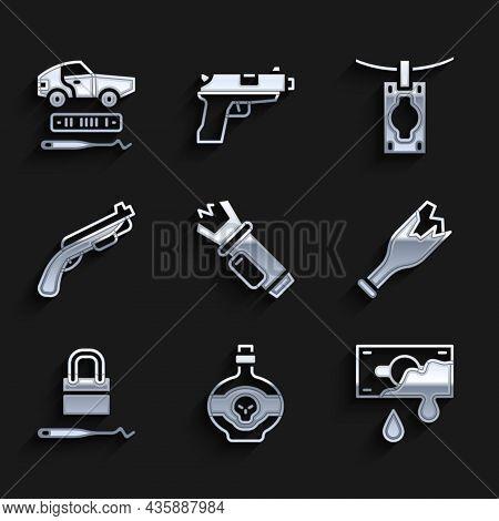 Set Police Electric Shocker, Poison In Bottle, Bloody Money, Broken As Weapon, Lock Picks For Lock P