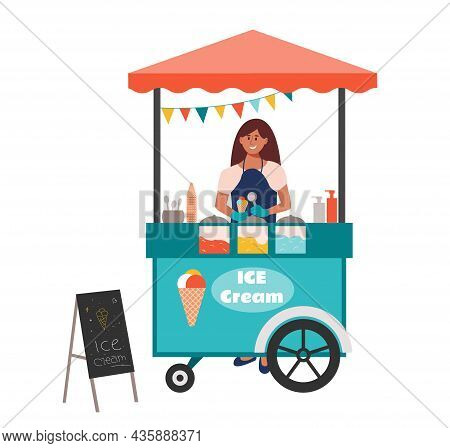 City Street Ice Cream Stall. Girl Seller Holding Icecream Cone And Stands Behind The Counter. Sellin