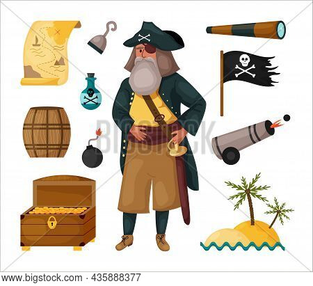 Pirate Set With Map, Wooden Barrel, Island, Spyglass, Hook, Gun, Rum, Treasure Chest And Male Charac