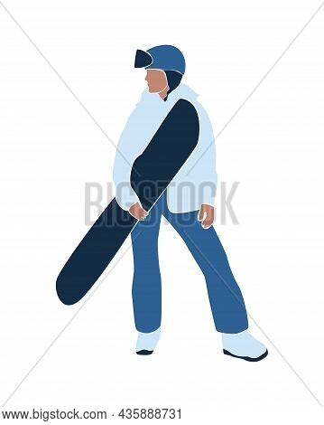Faceless Abstract Woman With Snowboarding. Winter Holiday Activities. Female In Winter Stylish Outfi