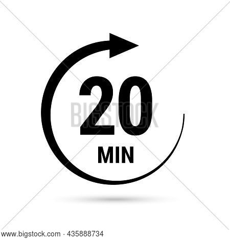 20 Minute Vector Icon, Stopwatch Symbol, Countdown. Isolated Illustration With Timer.