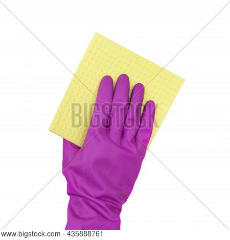 Man In Rubber Gloves Holds A Yellow Rag On A White Background. Isolated. Rubber Gloves For Cleaning