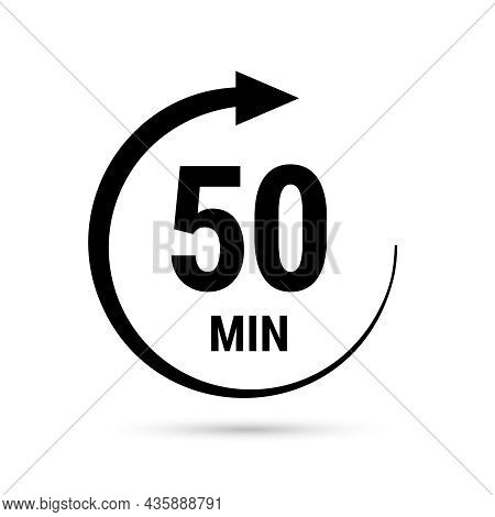 50 Minute Vector Icon, Stopwatch Symbol, Countdown. Isolated Illustration With Timer.