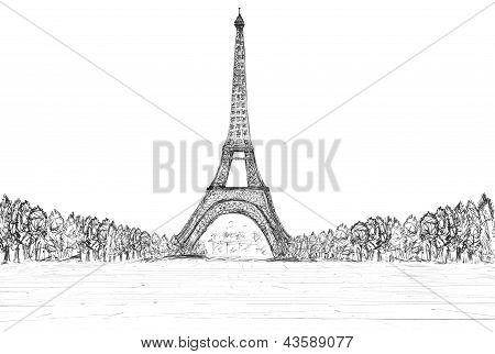 Sketching Of Eifel Tower