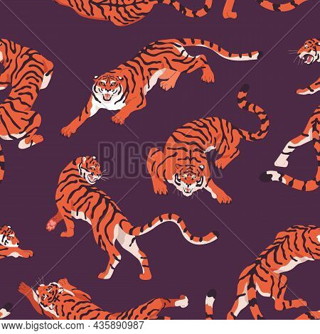 Seamless Pattern With Bengal Tigers. Repeating Background With Angry Wild Feline Animal In Motion, C