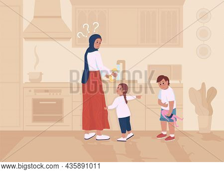 Kids In Trouble With Mom Flat Color Vector Illustration. Girl Telling On Brother. Sibling Blaming An