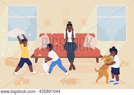 Stress Of Motherhood Flat Color Vector Illustration. Naughty Kids Making Mess In Living Room. Tired