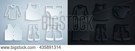 Set Pants, Men Underpants, Waistcoat, Short Or, Undershirt And Sweater Icon. Vector