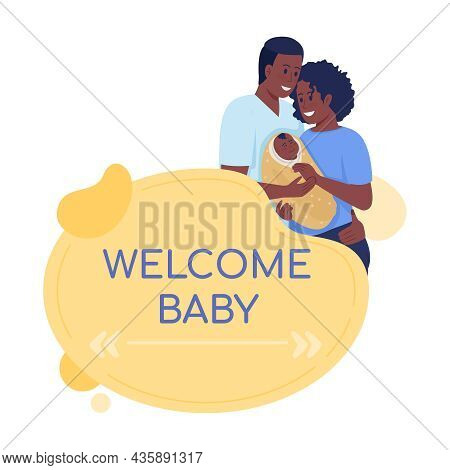 Welcome Baby Vector Quote Box With Flat Characters. Happy Couple With Newborn. Family Care. Parents