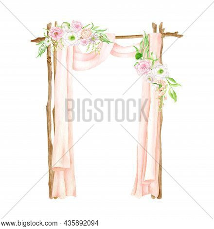 Watercolor Square Wedding Arch With Flowers. Hand Drawn Wood Archway, Peach Color Curtains, Floral A
