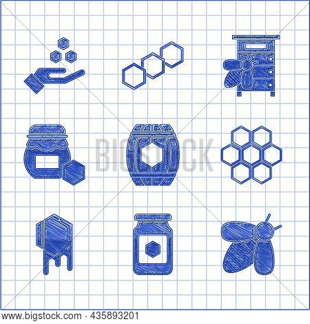 Set Wooden Barrel With Honey, Jar Of, Bee, Honeycomb, Hive For Bees And And Hand Icon. Vector