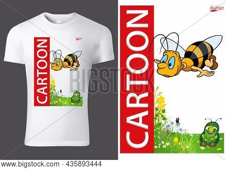 White Child T-shirt Design With Flying Honeybee - Colored Cartoon Illustration With Inscription, Vec