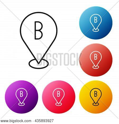 Black Line Map Pin Icon Isolated On White Background. Navigation, Pointer, Location, Map, Gps, Direc