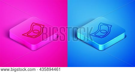 Isometric Line Stacks Paper Money Cash Icon Isolated On Pink And Blue Background. Money Banknotes St