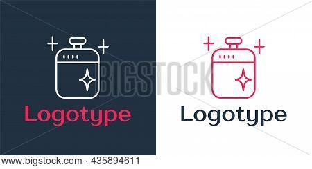 Logotype Line Clean Cooking Pot Icon Isolated On White Background. Boil Or Stew Food Symbol. Logo De