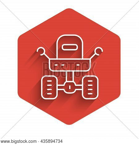 White Line Mars Rover Icon Isolated With Long Shadow. Space Rover. Moonwalker Sign. Apparatus For St