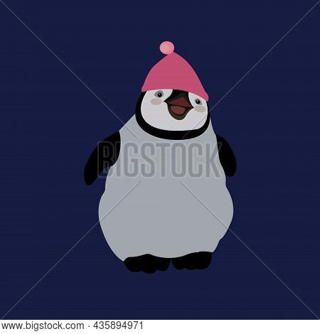 Cute Penguin Cartoon Flat Design Vector Illustration. Baby Penguin In Hat.