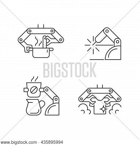 Automated Mechanical Devices Linear Icons Set. Robotic Kitchen. Welding Robotics. Coffee Making Robo