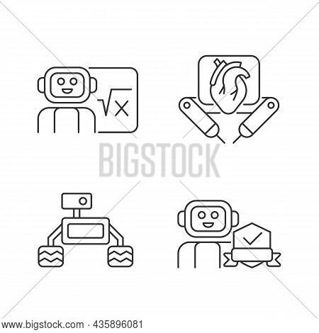 Robotics Technology Linear Icons Set. Surgical Robot. Robotic Vehicle. Home Safety. Ai In Classroom.