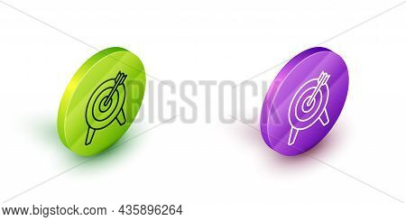 Isometric Line Target Financial Goal Concept Icon Isolated On White Background. Symbolic Goals Achie