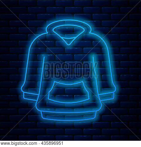 Glowing Neon Line Hoodie Icon Isolated On Brick Wall Background. Hooded Sweatshirt. Vector