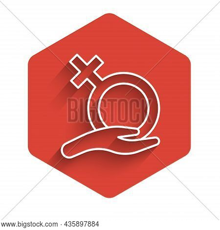 White Line Female Gender Symbol Icon Isolated With Long Shadow Background. Venus Symbol. The Symbol