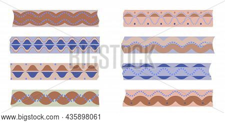 Set Of Ribbons, Painting Tapes Washi, Scotch Paper. Ribbons In National Folk Style. Elegant Scotch T