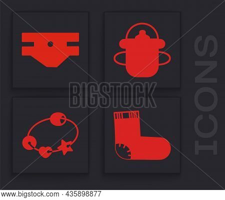 Set Baby Socks Clothes, Baby Absorbent Diaper, Baby Bottle And Rattle Baby Toy Icon. Vector