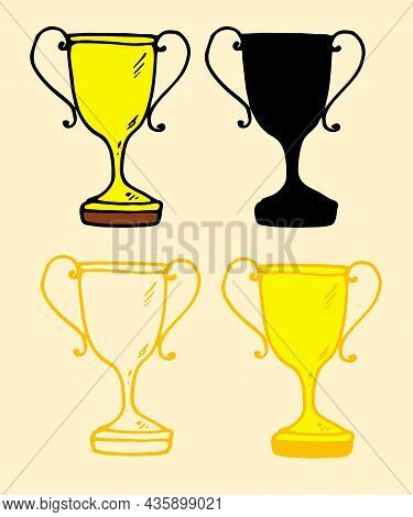 Vector Gold Cup.gold Cup Set In Flat Style. A Doodle-style Yellow Doodle Cup With A Black Outline An