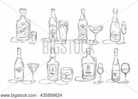 Bottle And Glass Rum, Beer, Vermouth, Champagne, Martini, Whiskey, Liquor, Wine Together In Hand Dra