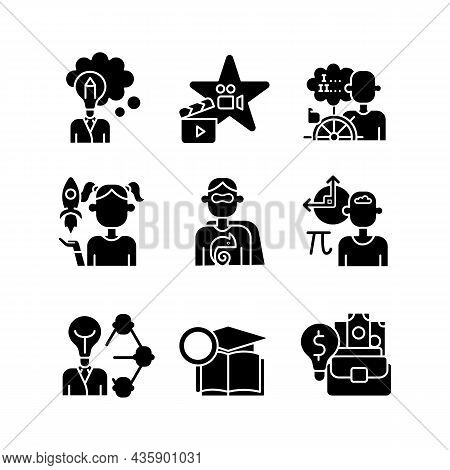 Vocation Black Glyph Icons Set On White Space. Professional And Educational Abilities. Networking An